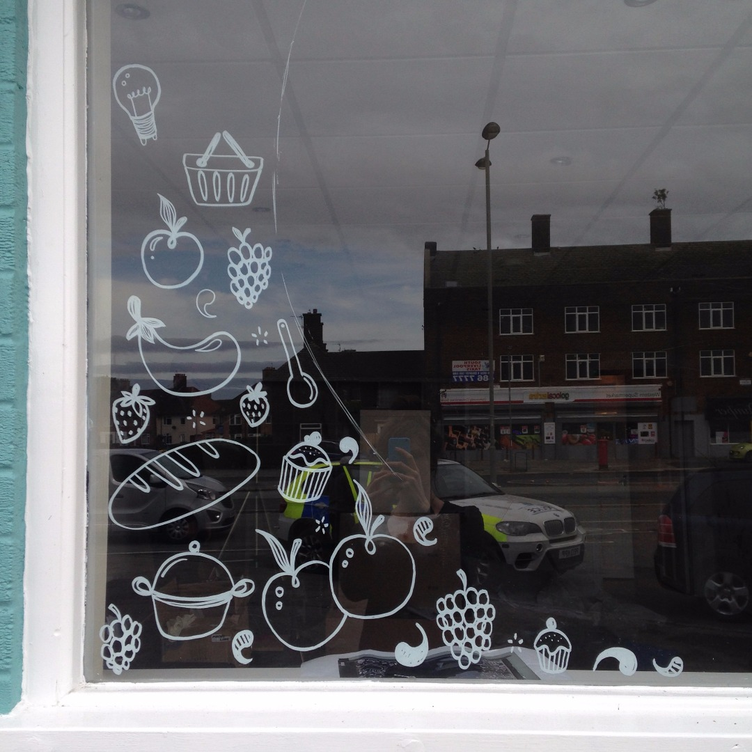 Market place window illustrations