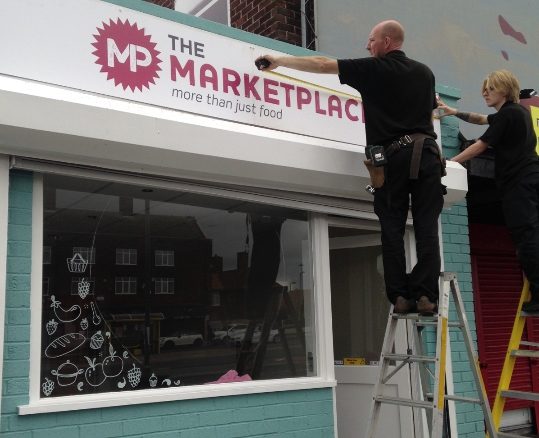 Market Place external signage fitting
